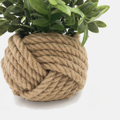 Knotted jute pot plant holder at For Dignity