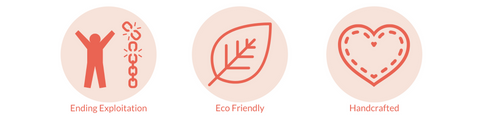 For Dignity value icons: Ending exploitation, sustainable and handcrafted