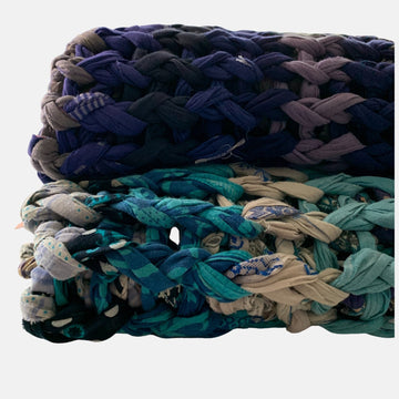 Blankets fair trade ethical sustainable fashion Knotted Throw - Ocean and Sky Blues conscious purchase Basha