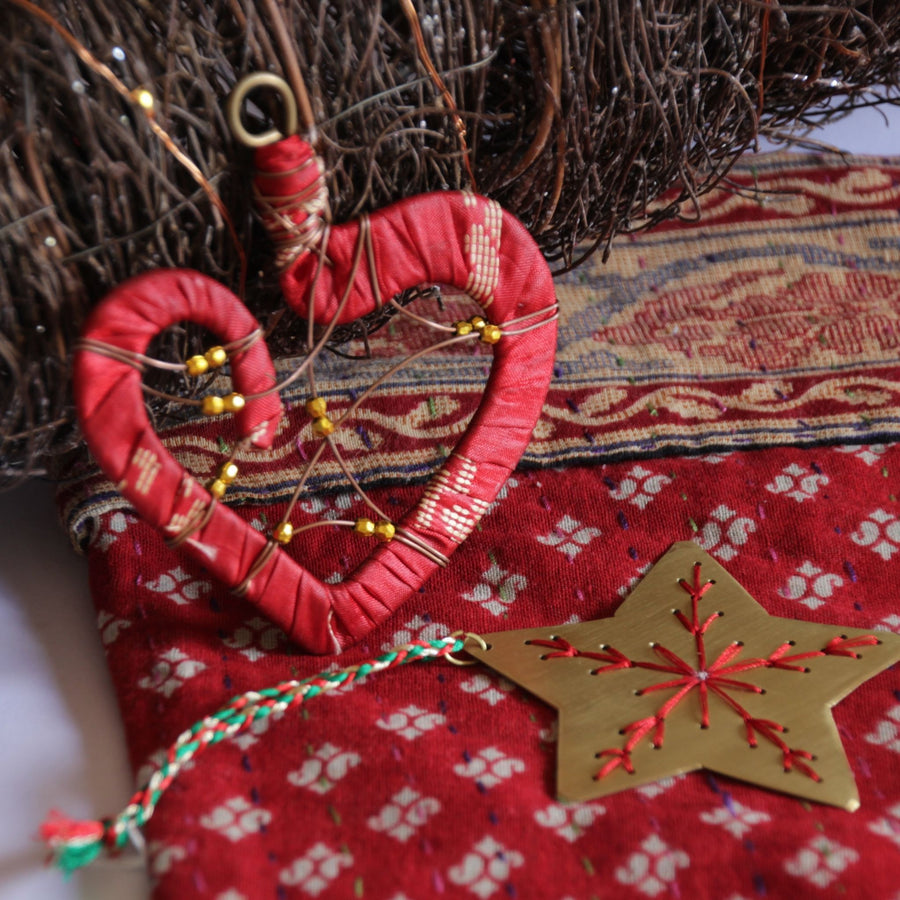 Celebration fair trade ethical sustainable fashion Heart Christmas Ornament conscious purchase Basha