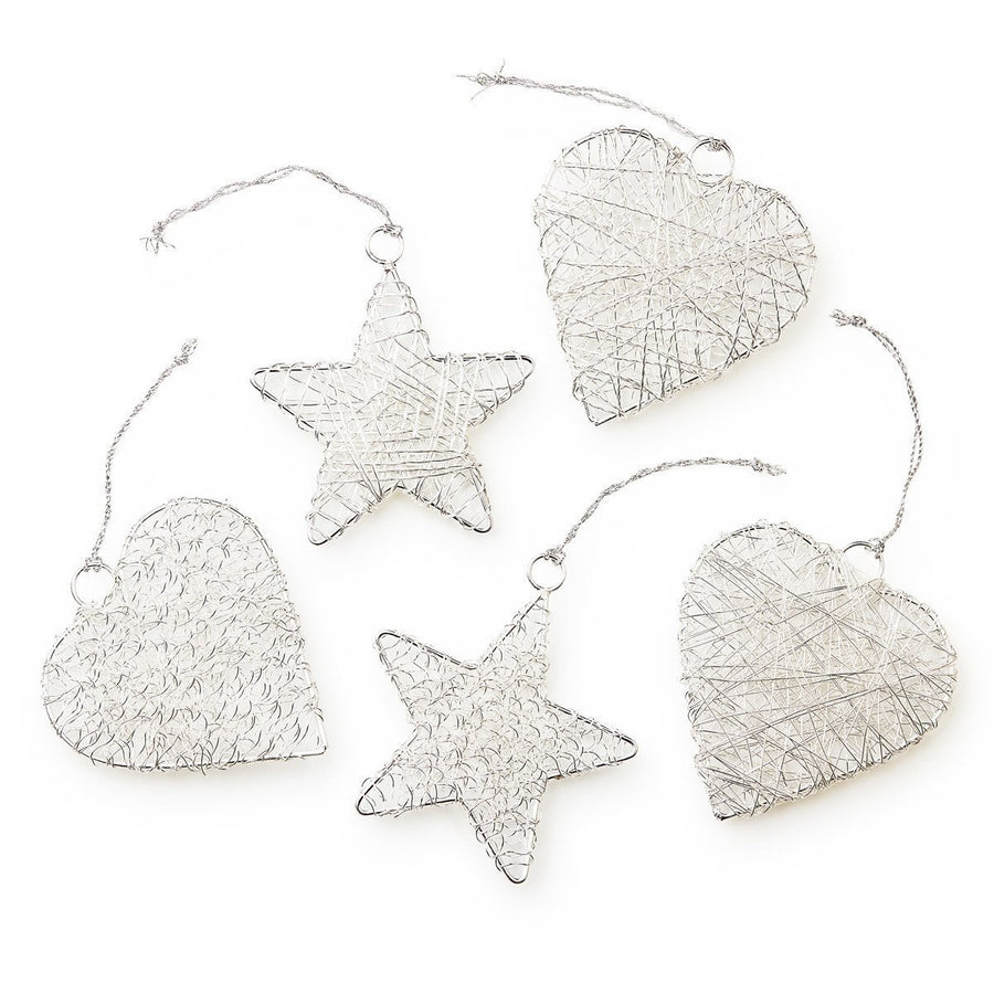 Celebration Shimmering Wire Star and Heart Baubles Fashion Ethical gifts and fair trade from For Dignity