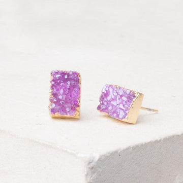 Earrings Cat Earrings: Purple Crystal Studs Ethical and Fair trade at for Dignity