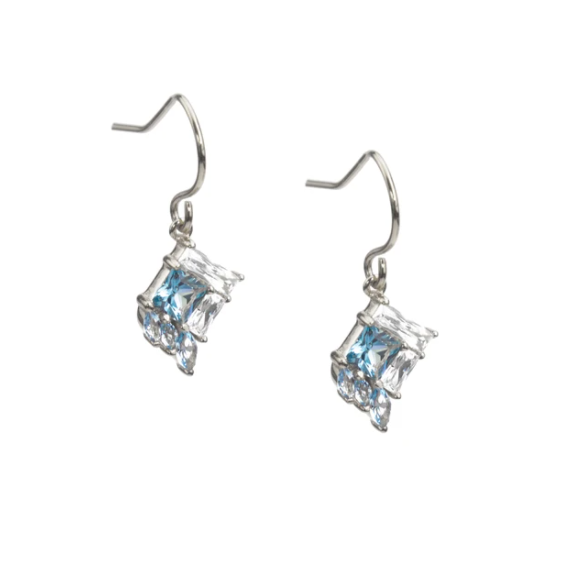 Earrings fair trade ethical sustainable fashion Crystal and Blue Zirconium Studs or Drop in Gold or Silver conscious purchase Eden