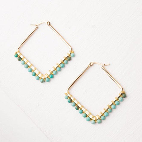 Gold Beaded Hoop Earrings - Kayla in Turquoise