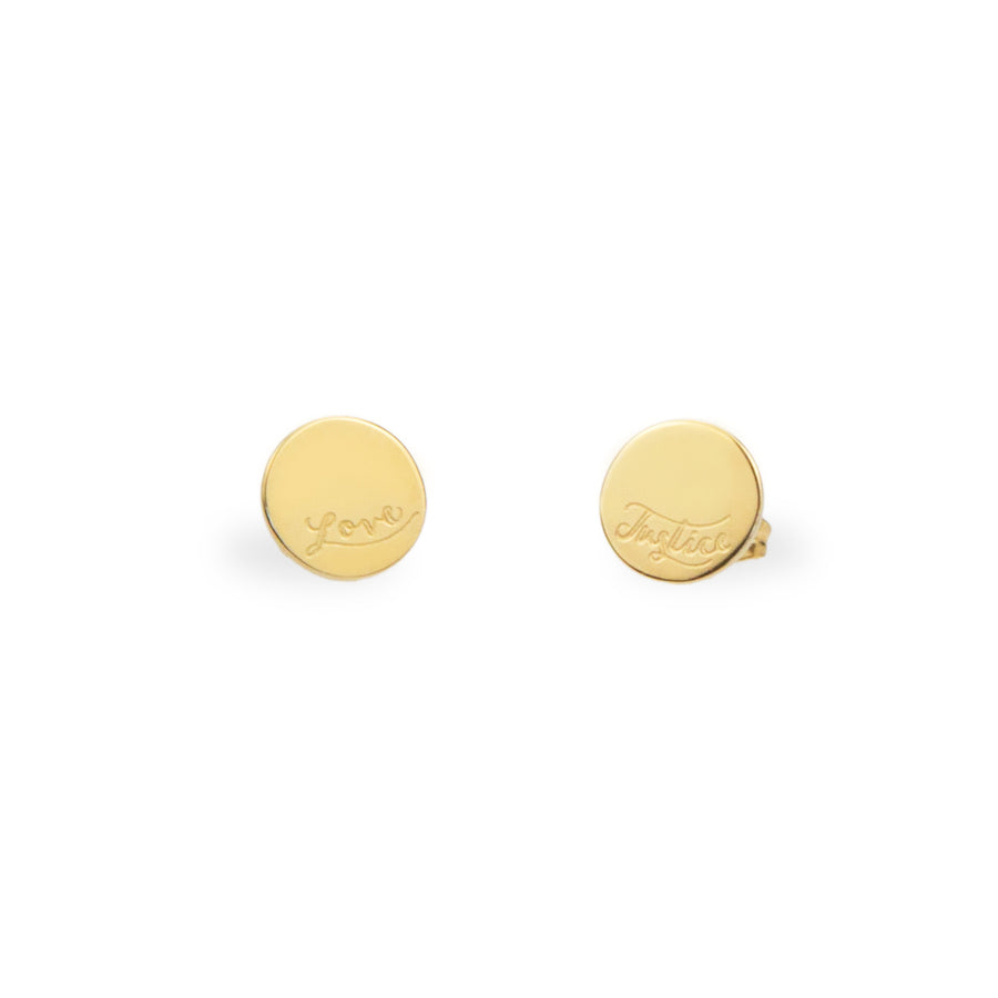Earrings fair trade ethical sustainable fashion Truth Stud Earrings in Gold or Silver- Love and Justice conscious purchase Eden