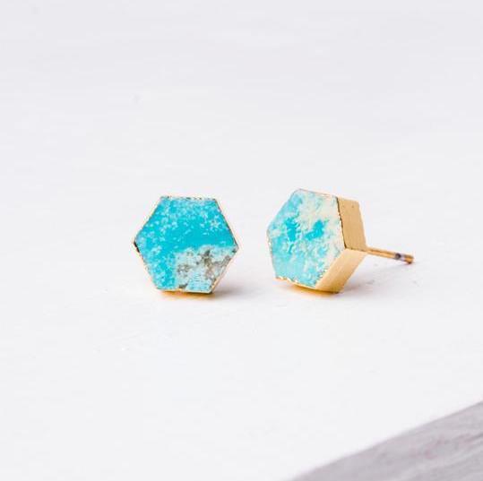 Earrings fair trade ethical sustainable fashion Turquoise Hexagon Studs - Natalie conscious purchase Starfish Project