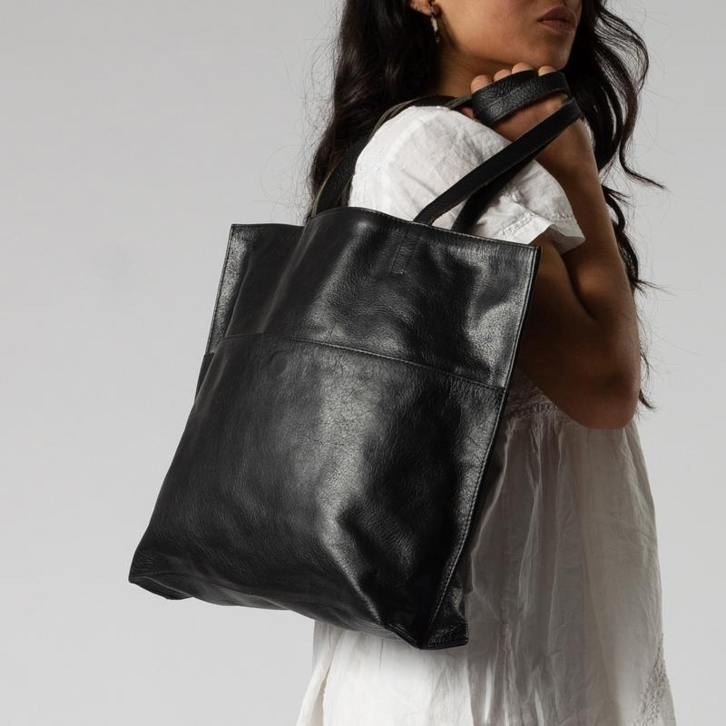 Leather Bags fair trade ethical sustainable fashion Black Everyday Leather Tote conscious purchase JOYN