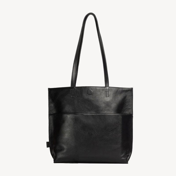 Leather Bags fair trade ethical sustainable fashion Black Leather Tote- Kamala conscious purchase JOYN