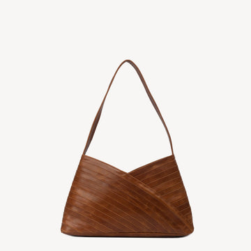 Leather Bags fair trade ethical sustainable fashion Brown Leather Shoulder Bag , Crisscross design conscious purchase JOYN