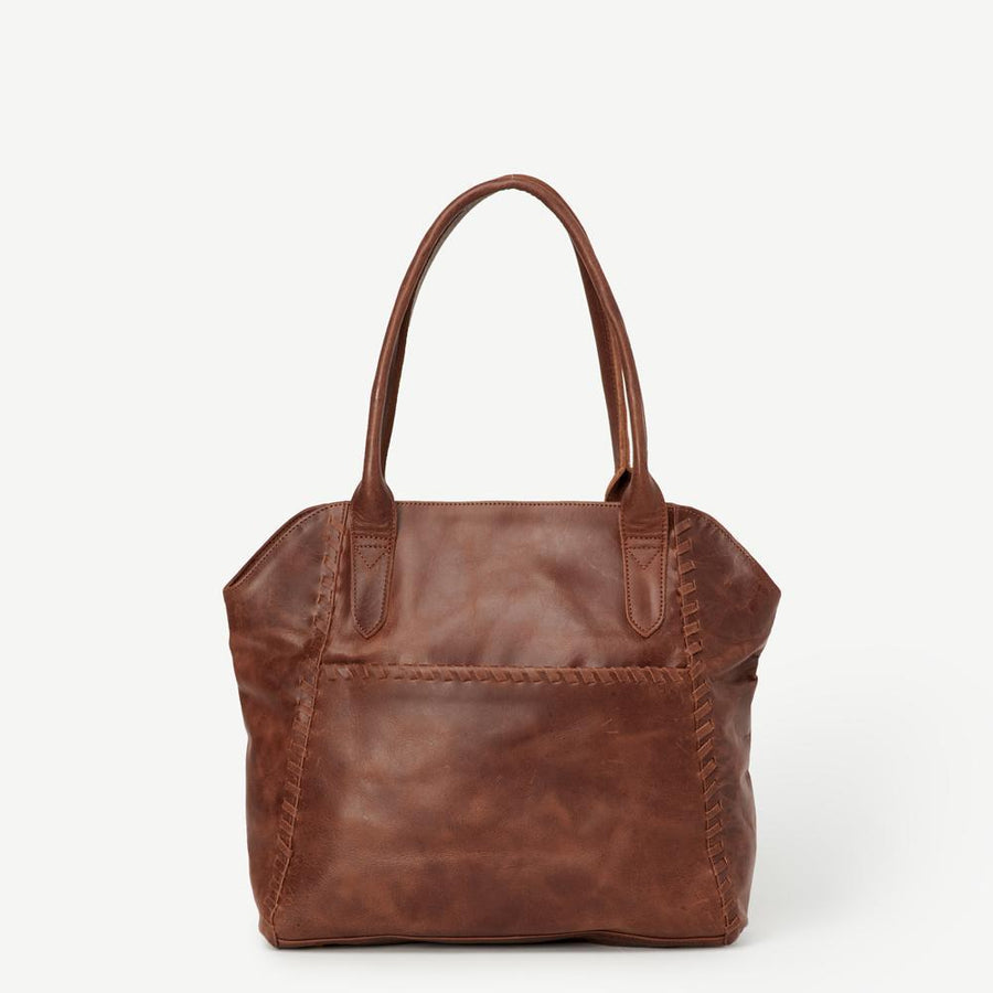 Leather Bags fair trade ethical sustainable fashion Brown Leather Tote -Adhya conscious purchase JOYN