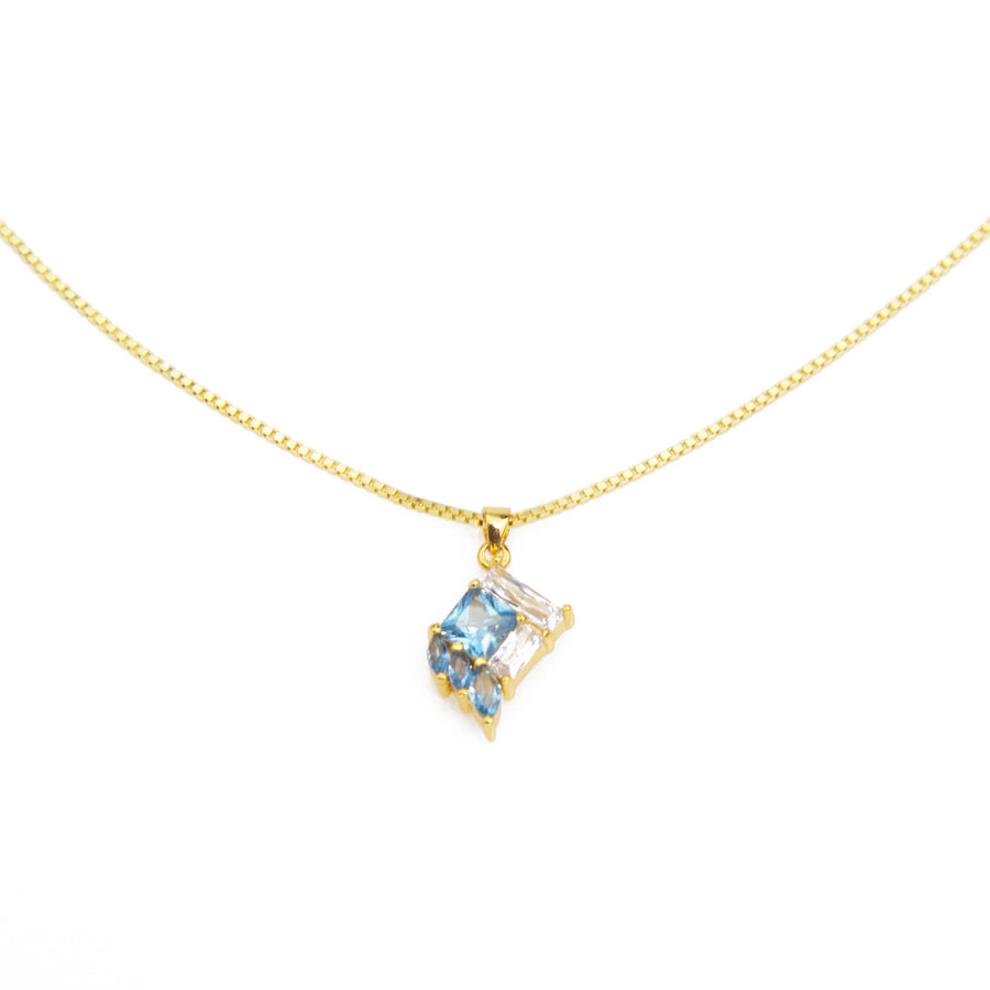 Necklace fair trade ethical sustainable fashion Crystal and Blue Pendant Necklace in Gold or Silver conscious purchase Eden