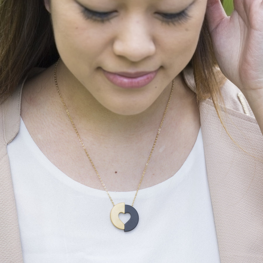 Necklace fair trade ethical sustainable fashion Gold Heart Pendant Necklace- Committed conscious purchase Eden