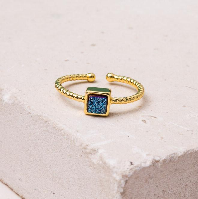 Ring Gold Harper Blue Crystal Ring in Gold or White Gold Ethical and Fair trade at for Dignity