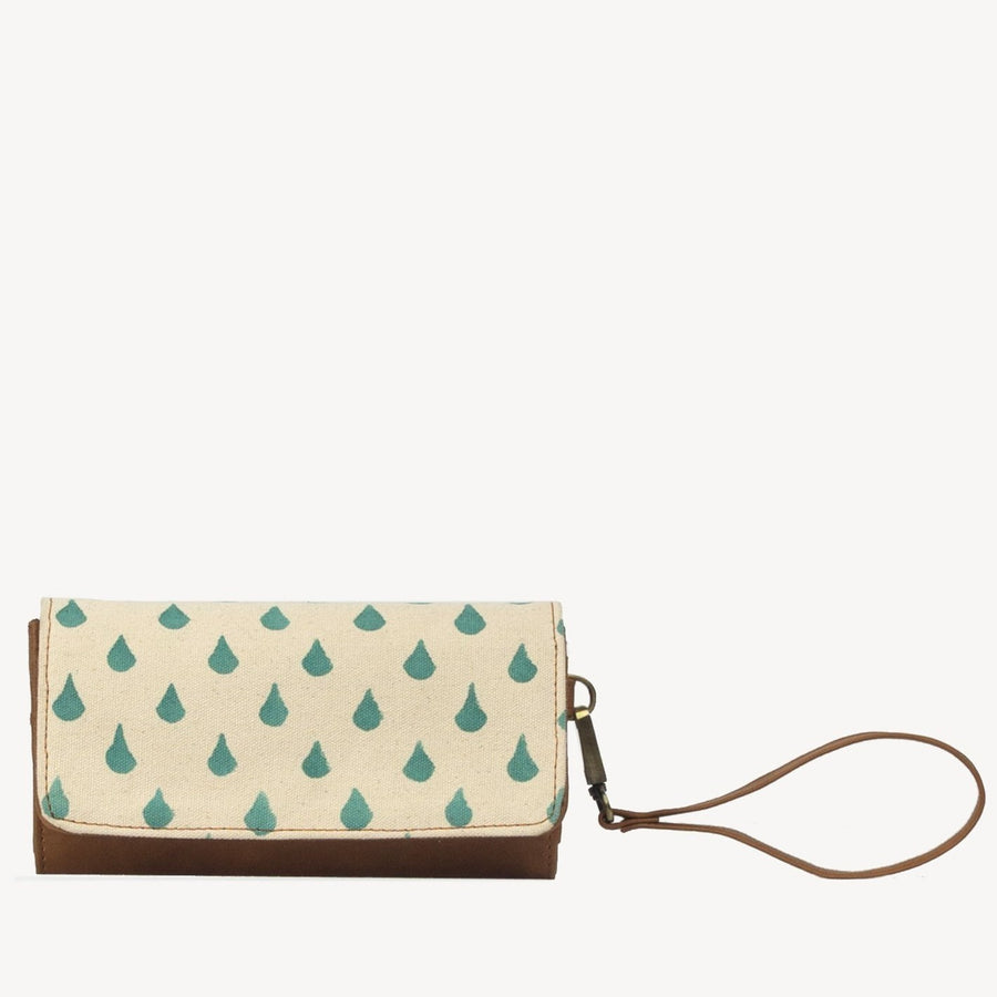 Rain Drop Cotton Print Vegan Wallet - Vanya in Rain Drop Print