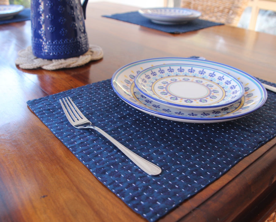 Table and Kitchen Kantha Indigo Placemat Twin Set Fashion Ethical gifts and fair trade from For Dignity