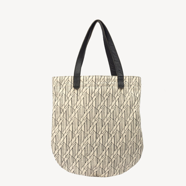Tote fair trade ethical sustainable fashion Black Print Tote - Semi Circle Tote Geo Forrest Print conscious purchase JOYN