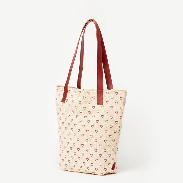 Tote fair trade ethical sustainable fashion Heart Print Tote -  Prisha conscious purchase JOYN