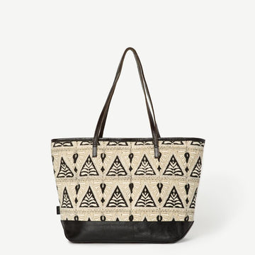 Vegan fair trade ethical sustainable fashion Designer Black Vegan Zipped Tote in Painted Floral - Aditi conscious purchase JOYN