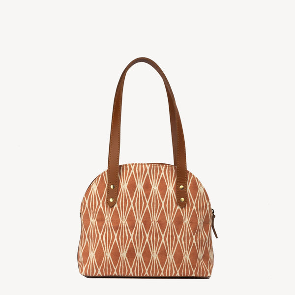 Vegan fair trade ethical sustainable fashion Terracotta Print Statement Handbag- Half Moon in Harvest Print conscious purchase JOYN