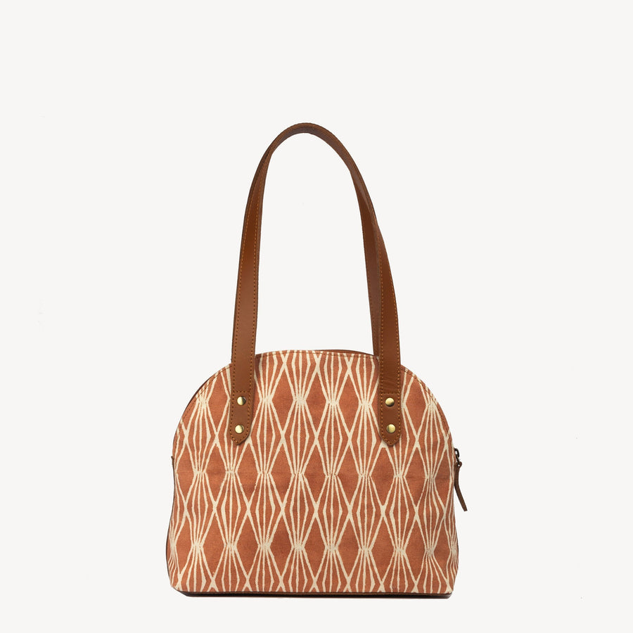 Terracotta Print Statement Handbag- Half Moon in Harvest Print