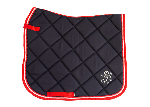 Navy/Red/White Saddle Pads - Jump, GP, and Dressage cuts