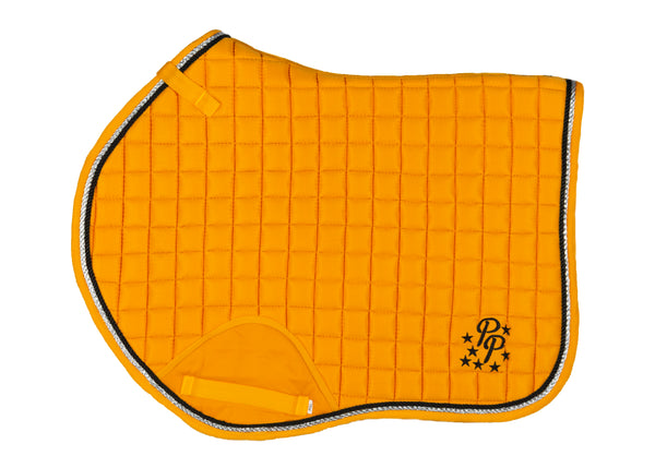 Sunflower Yellow/Black Saddle Pads - Jump, GP, and Dressage cuts