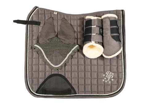 """Sake"" Grey Suede Dressage Set"