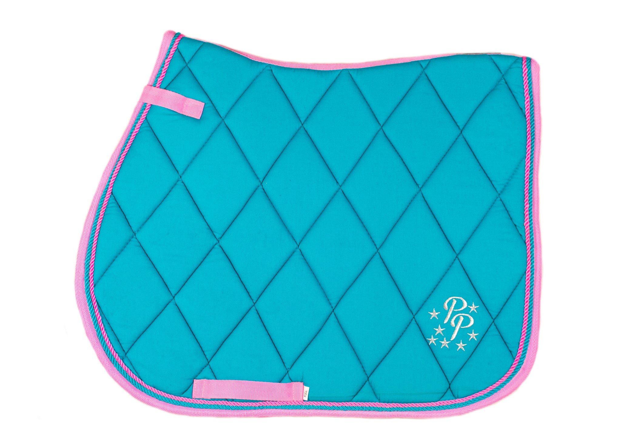Turquoise/Pink Saddle Pads - Jump, GP, and Dressage cuts