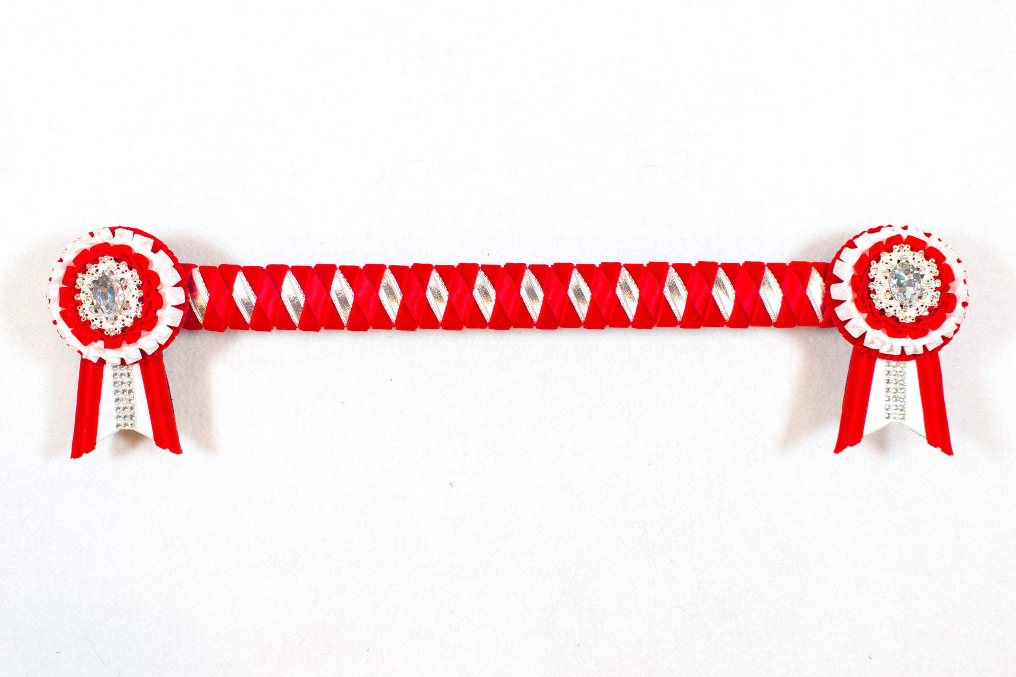 "Red, White, and Silver 14.5"" Show Browband"