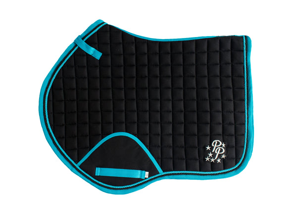 Black/Turquoise Saddle Pads - Jump, GP, and Dressage cuts