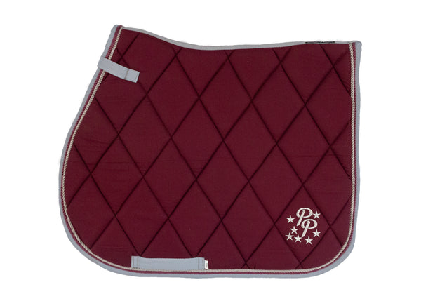 Burgundy/Grey Saddle Pads - Jump, GP, and Dressage cuts