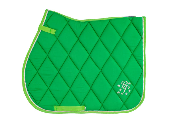 Lime Green Saddle Pads - Jump, GP, and Dressage cuts
