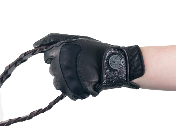 Black Glitter Leather Touchscreen Friendly Gloves