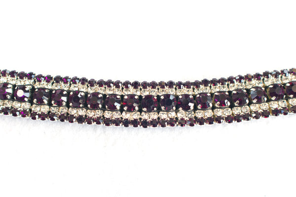 Black Leather Bling Browbands - 2021 Colours