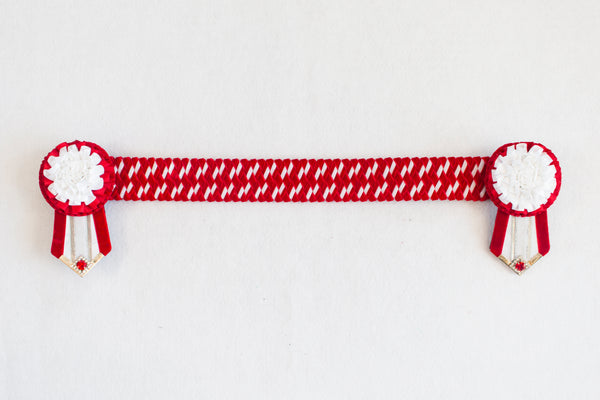 "Red and White 16"" Show Browband"