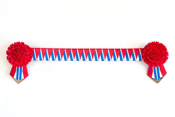 "Red, Blue, and White 16"" Show Browband"