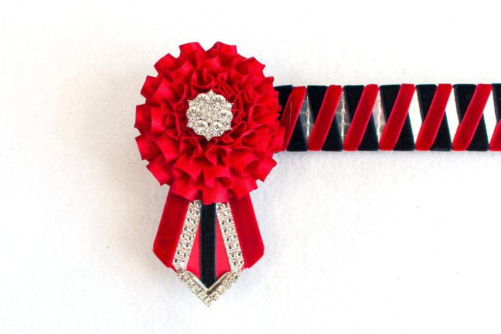 "Red and Dark Navy Mirror 14"" Show Browband"