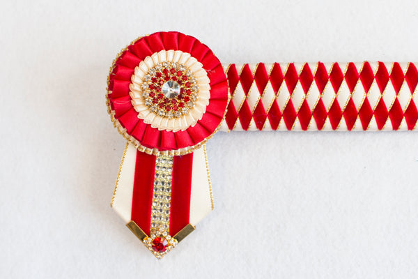 "Red, Cream, and Gold 16.5"" Show Browband"