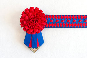 "Blue and Red 15.5"" Show Browband"
