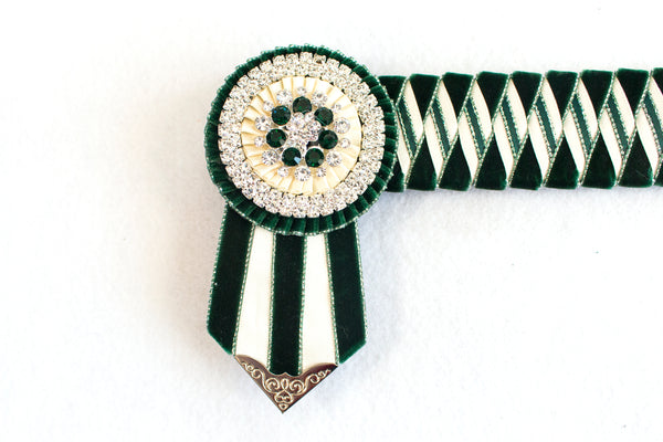 "Hunter Green and Cream 16"" Show Browband"