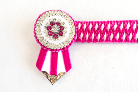 "Pink and White 13.5"" Show Browband"
