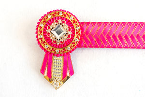 "Pink and Gold 14"" Show Browband"