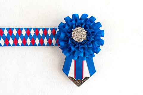 "Blue, White, and Red 13"" Show Browband"
