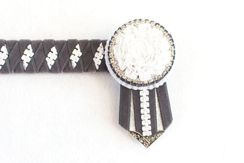 "Grey and White 15.5"" Show Browband"