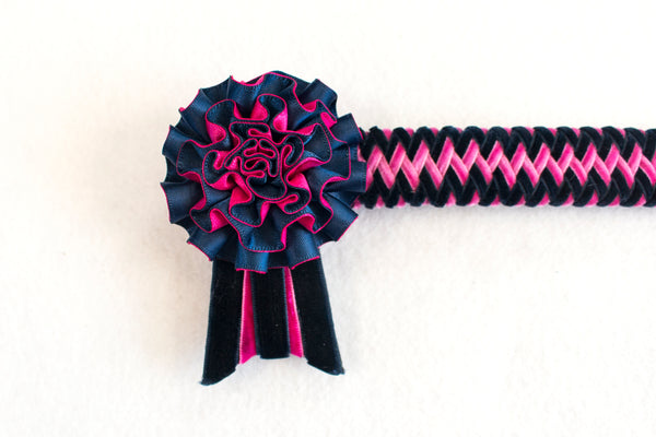 "Navy and Pink 14"" Show Browband"