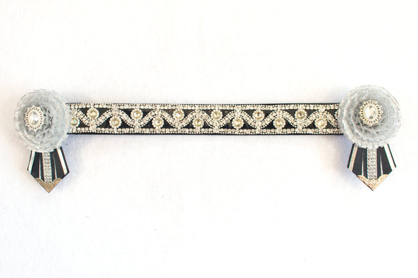 "Silver and Black 15.5"" Show Browband"