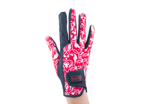 """Red Filigree"" Touchscreen Friendly Gloves"