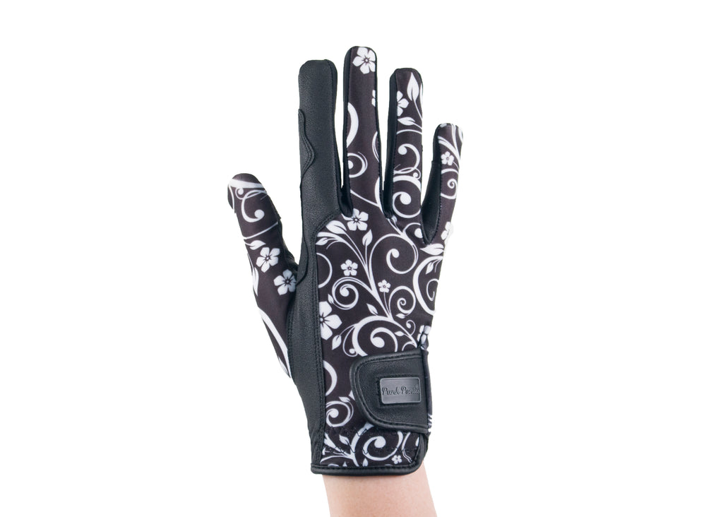 """Black Filigree"" Touchscreen Friendly Gloves"