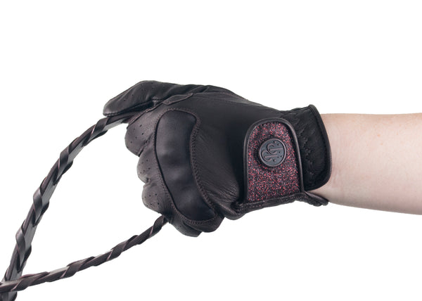 Brown Glitter Leather Touchscreen Friendly Gloves