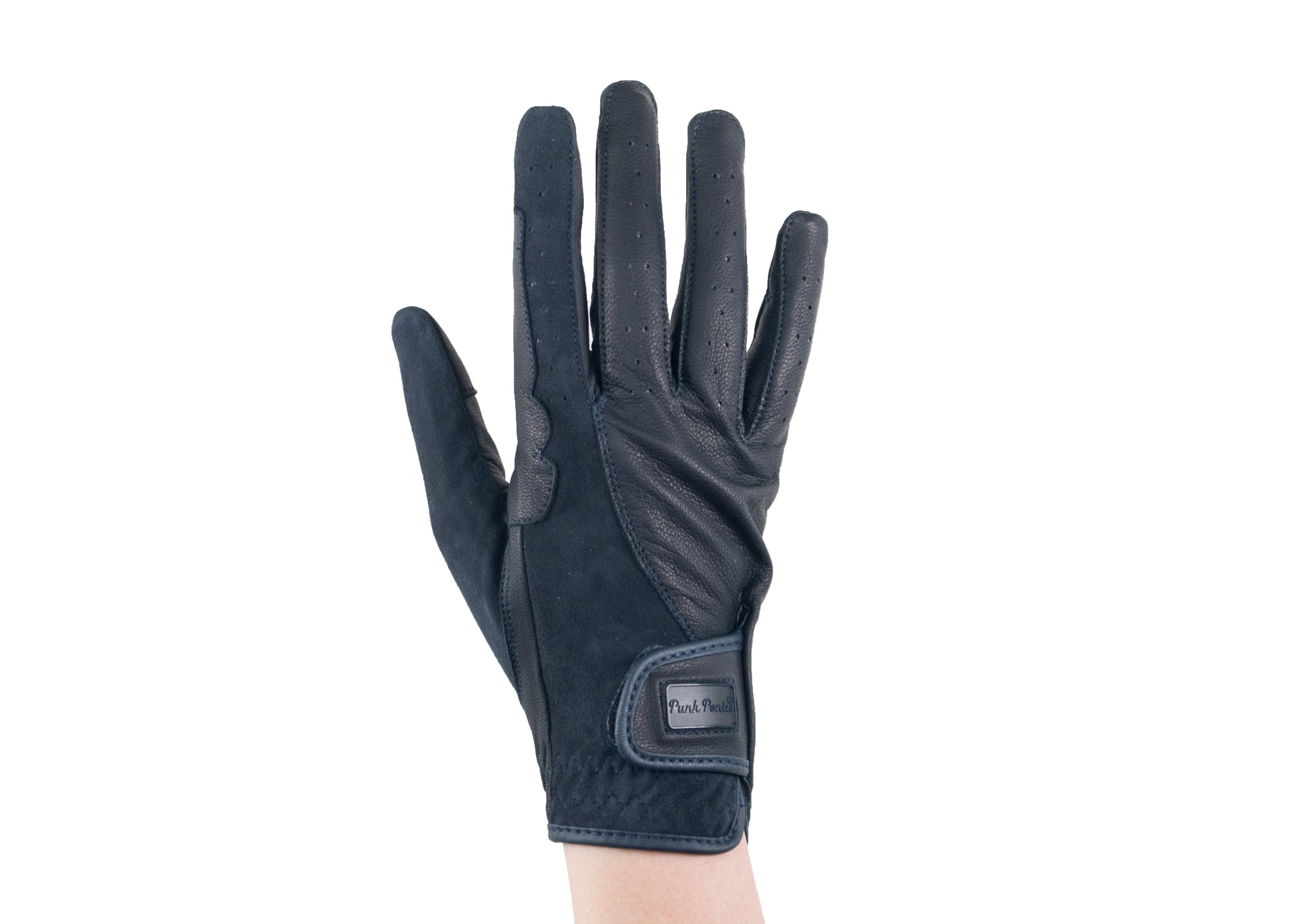 Navy Suede and Napa Leather Gloves